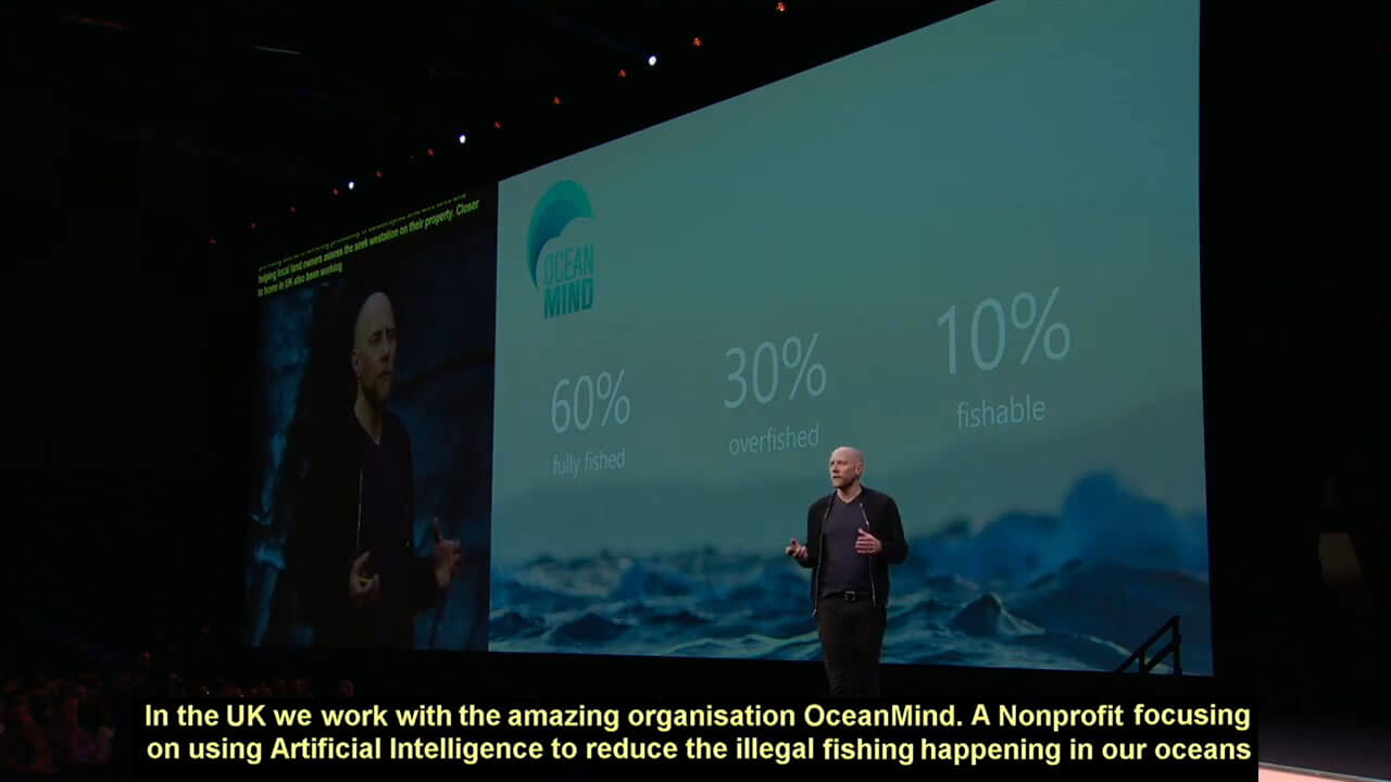 OceanMind featured in Future Decoded 2019 Keynote with Lucas Joppa.