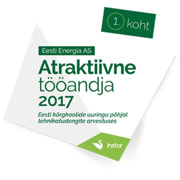 1. koht - Atraktiivne tööandja 2017, Eesti kõrgkoolide uuringu põhjal tehnikatungite arvestuses