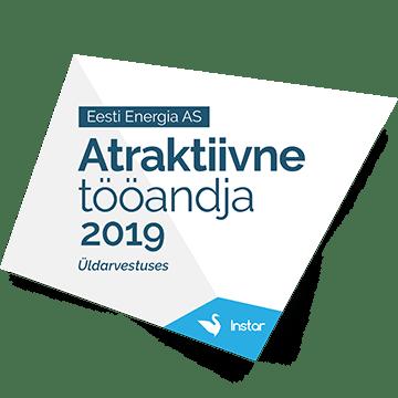 8. koht - Atraktiivne tööandja 2019. aasta Eesti kõrgkoolide tudengite üldarvestuses
