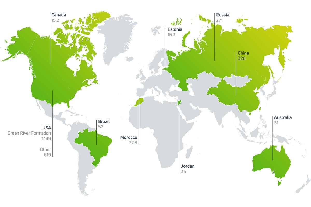 Map of oilshale resrves