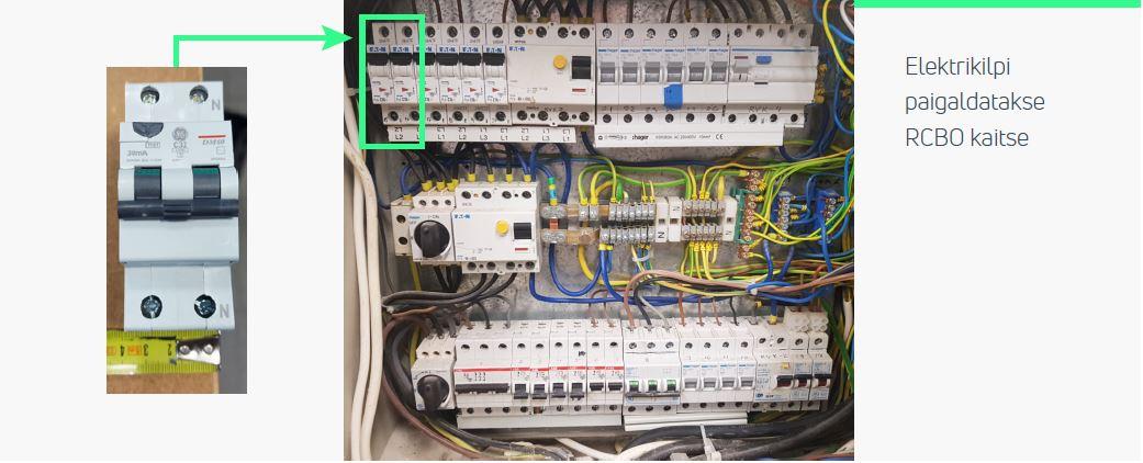 1-faasilise 7,4 kW võimsusega laadija kaitse kilbis