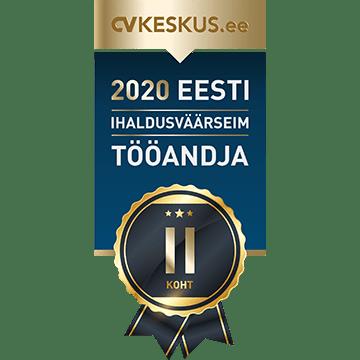 2. koht - Eesti ihaldusväärseim tööandja 2020