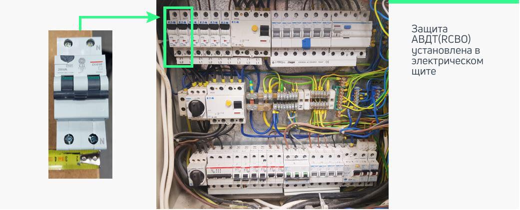 Предохранитель в щите для однофазного зарядного устройства мощностью 7,4 кВт