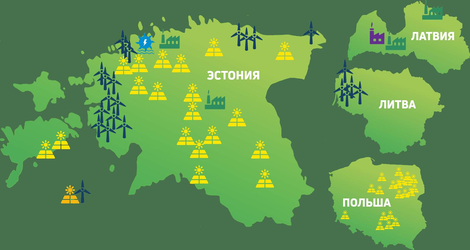 Сегодня мы производим возобновляемую энергию в Эстонии, Латвии, Литве и Польше