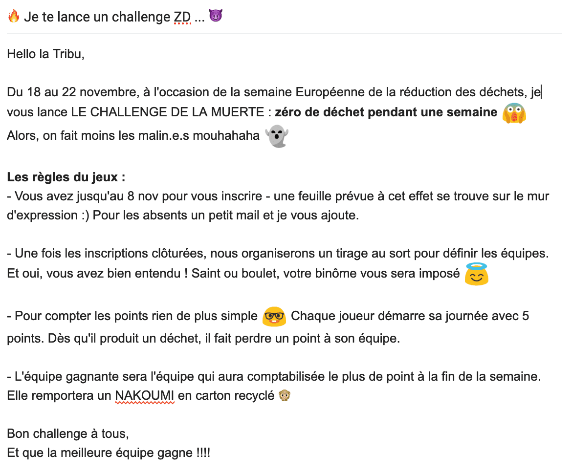 Mail type d'invitation au challenge