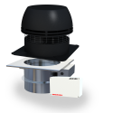 EcoDamper automated draft and damper system with chimney fan, fireplace damper, fan and damper control