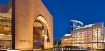 Orange County Center of Performing Arts exterior at night