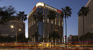 Residence Inn LAX exterior at sunset