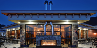 Beautiful custom see-through indoor/outdoor gas fireplace at the Blue Mountain Ski Resort in Palmerton, PA