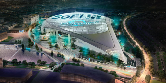 SoFi Stadium at night rendering