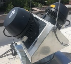 Two RS16 high-temperature chimney fans