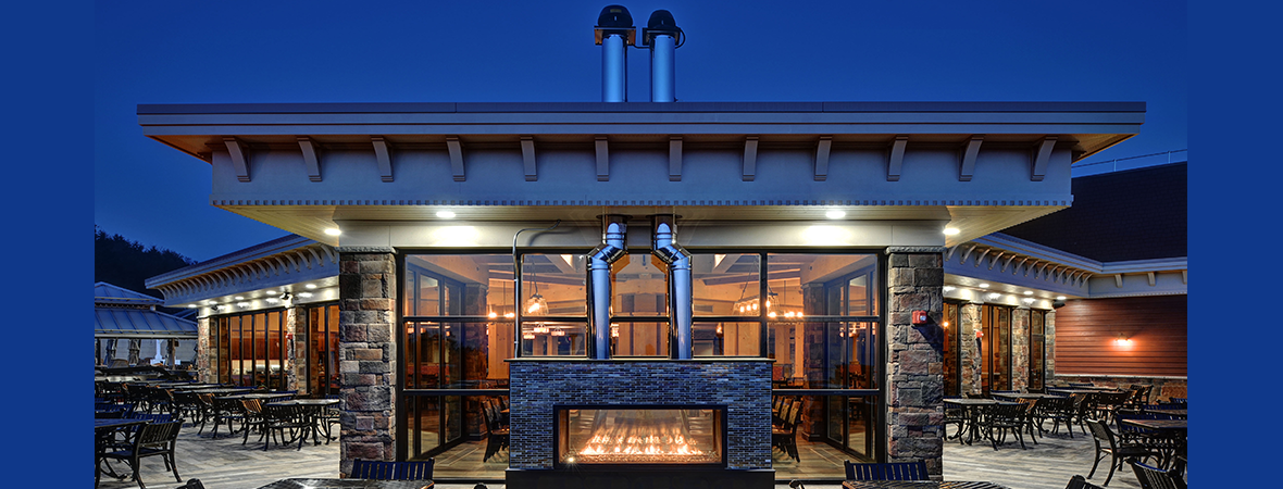 Beautiful custom see-through indoor/outdoor gas fireplace at the Blue Mountain Ski Resort