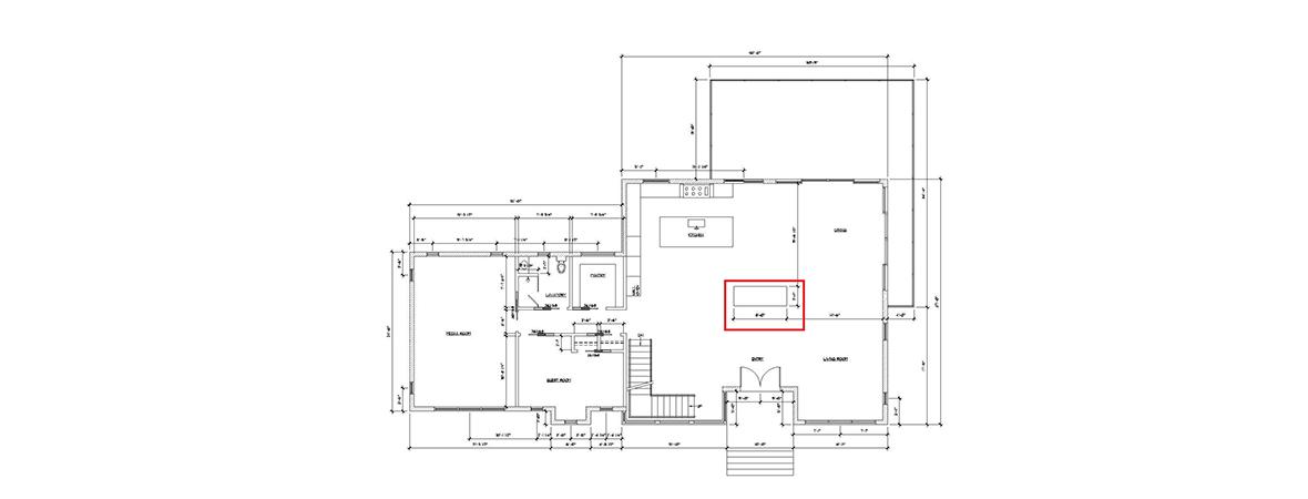 Residential fireplace plan drawing