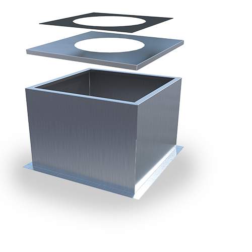 RCF Roof Curb—self-flashing type of roof curb and cap designed for use with GSV and EFV models on flat roofs