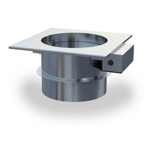 MFD Mechanical Fireplace Damper—automated chimney-top mounted damper used in a combined fan and damper system