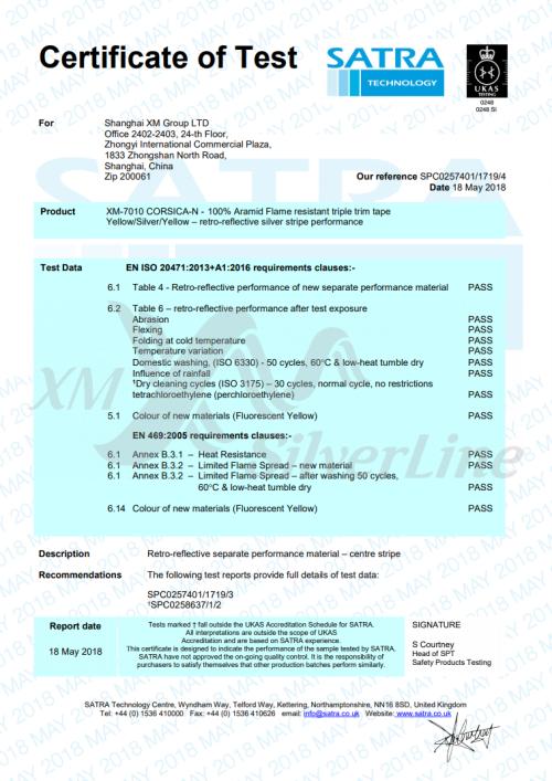 XM-7010 EN 20471 and EN 469 Certificate