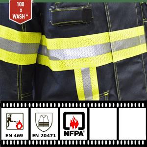 A faixa refletiva perfurada XM-6010P está em conformidade com NFPA 2112