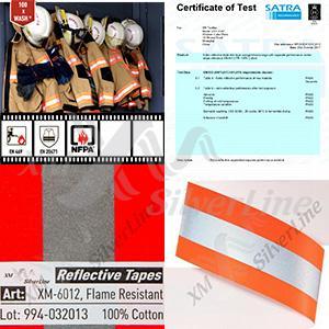 A faixa refletiva antichama XM-6012 foi certificada pela EN 20471