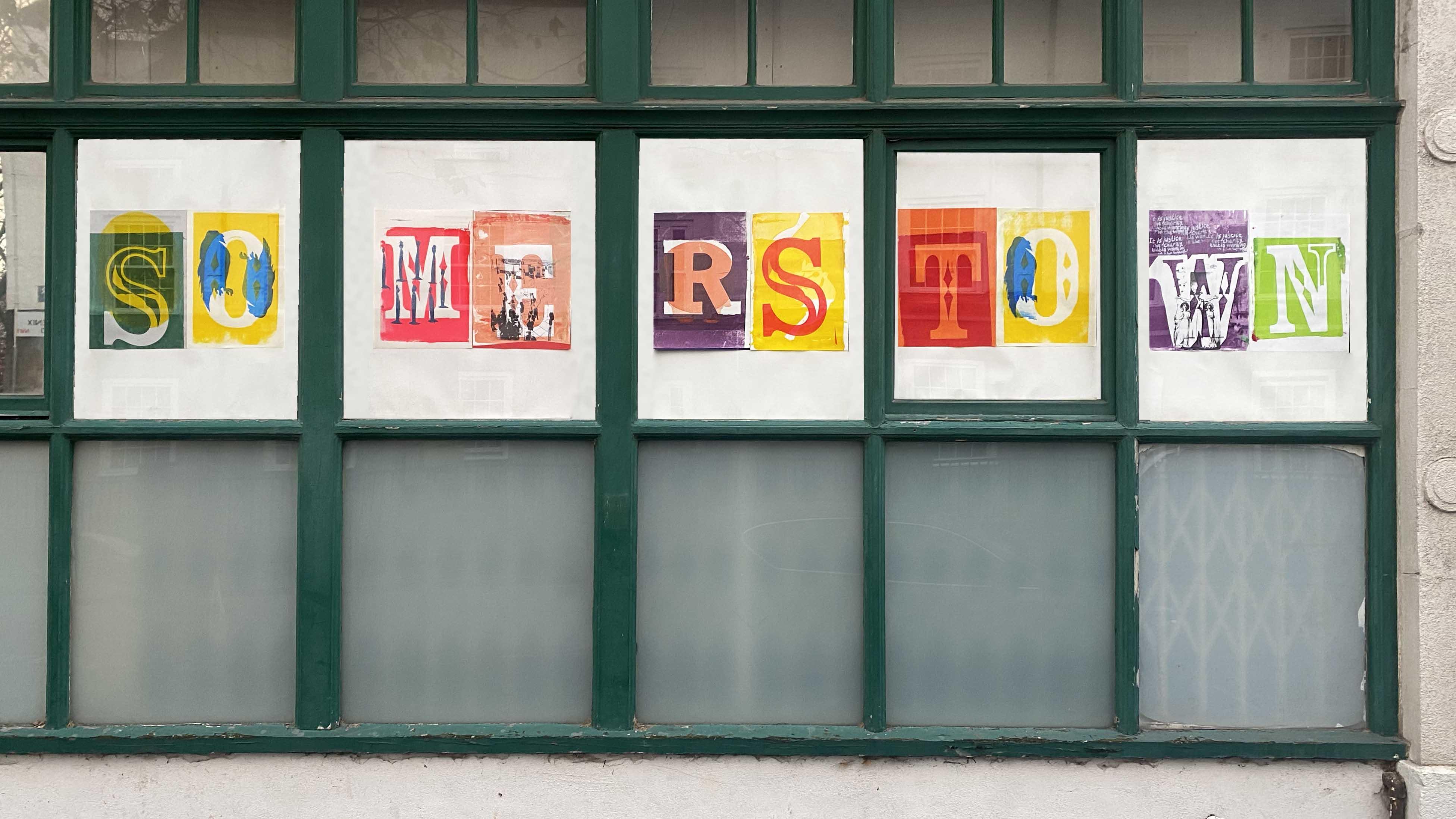 Screenprints displayed in a window