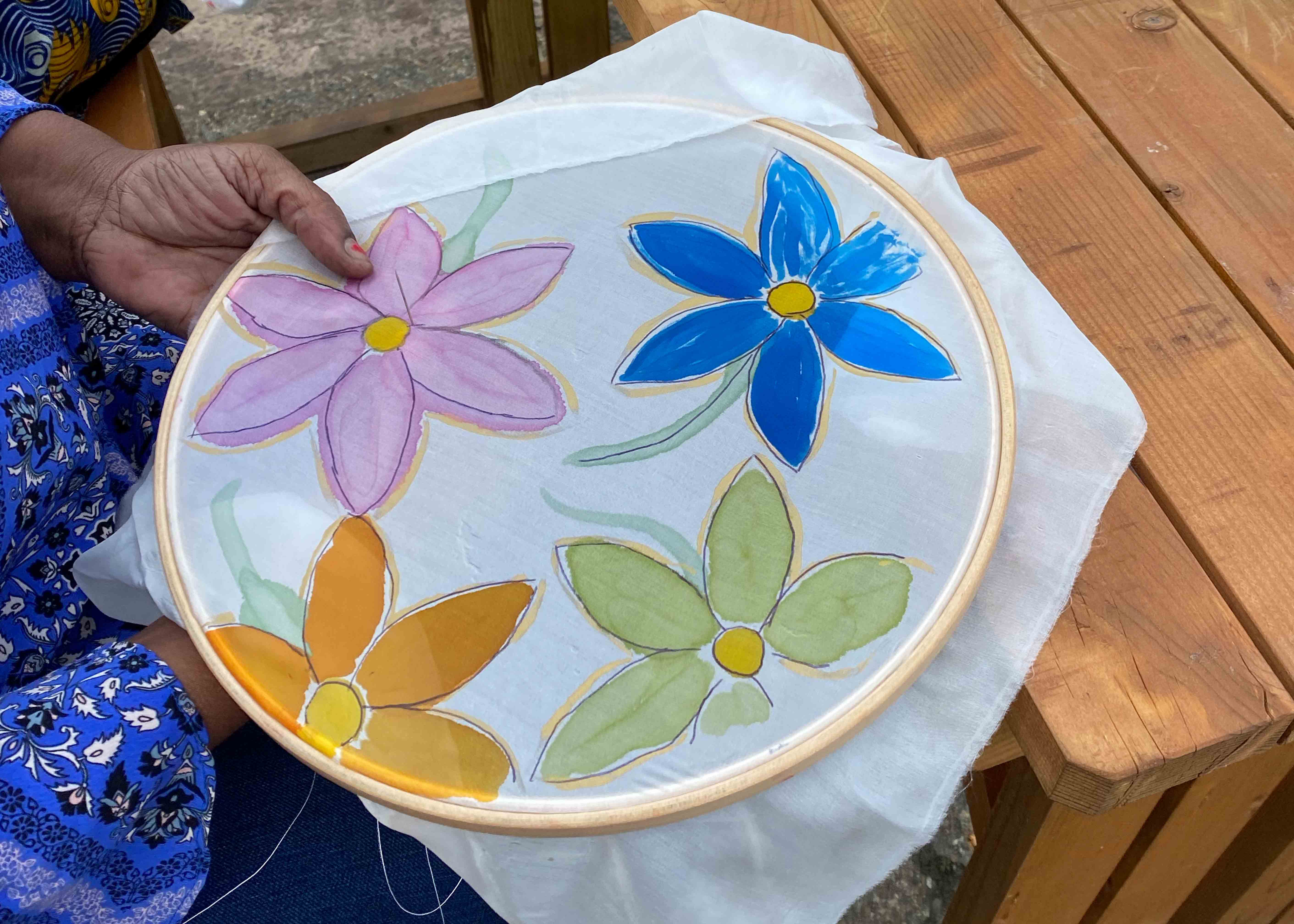 Some silk painted with a floral design
