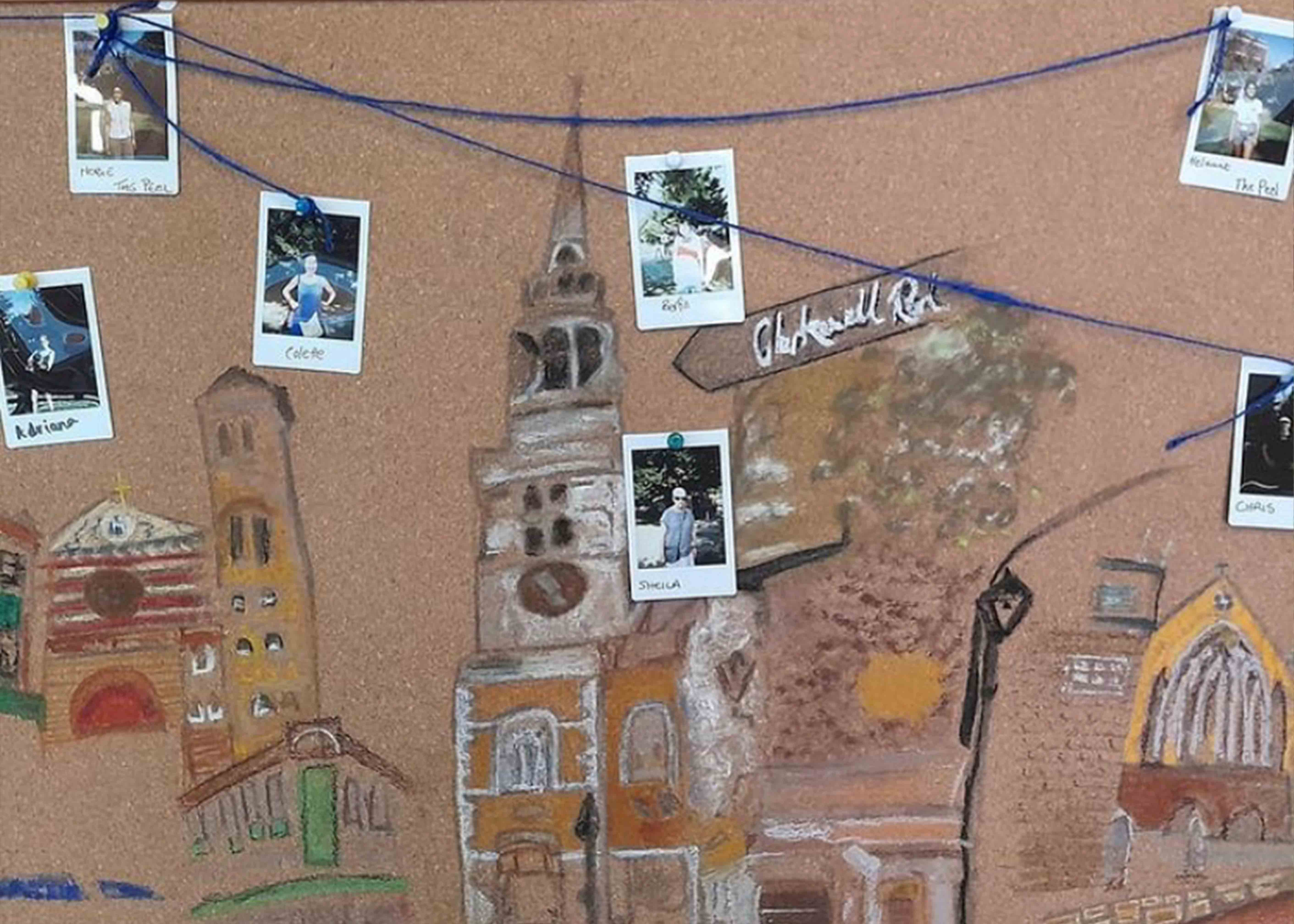 Pinboard of drawings and photos