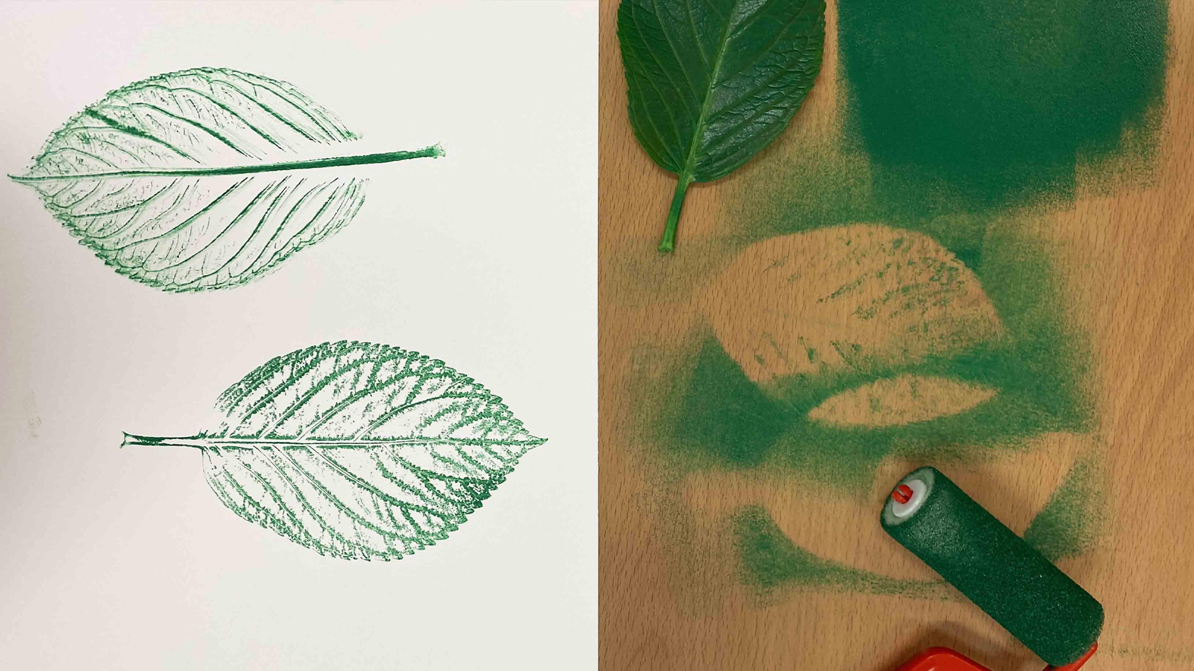 Leaf printed with ink