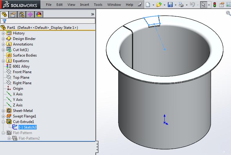 Cylinder Sheet Metal Flange Bend Dassault Solidworks 3d
