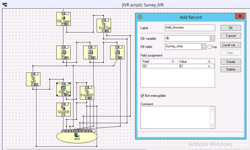 IPOCC - IVR Script - Add Record to DB - Avaya: IPOCC (Contact Center