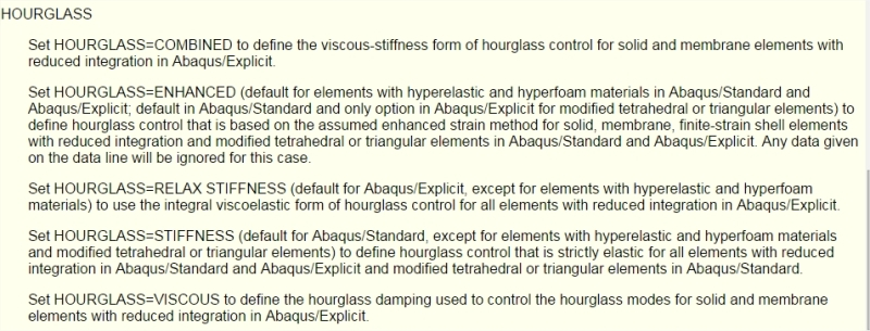 ABAQUS/Explicit: Guideline on Hourglass control energy limit
