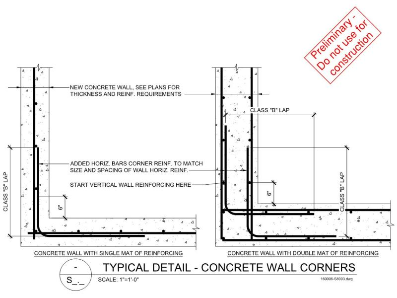 Concrete Reinforcing Steel Detailing : Concrete wall joints and corner details structural