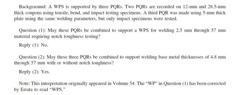 The interpretation of ASME commission about QW403 6 of IX volume