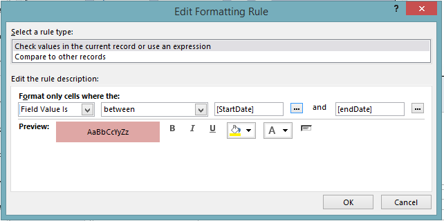 Conditional Formatting to Date Range - Microsoft: Access