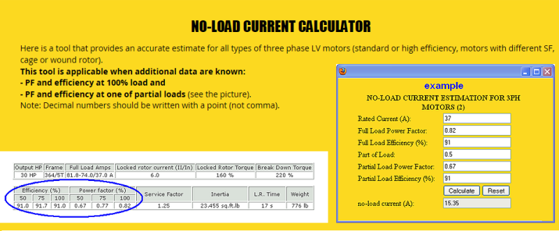 RE: Motor No Load Currents