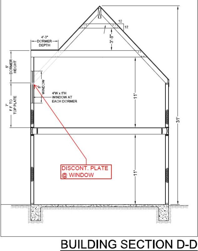 Discontinuous chords in wood framed building @ dormers - Structural ...