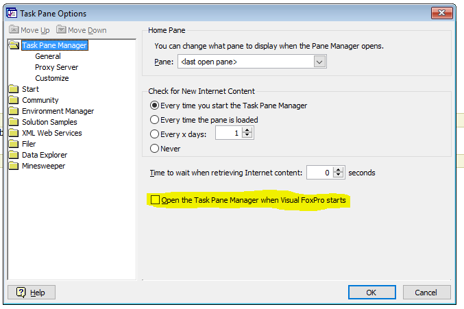 Task Pane Options - Microsoft: FoxPro - Tek-Tips