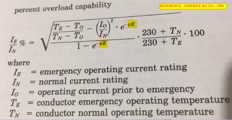 Ieee 242-2001 intermediate cable overload capacity equation.