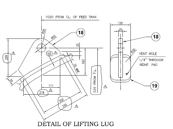 Lifting lugs on vertical vessel top head - ASME (mechanical