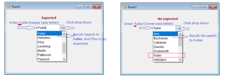 How to search case insensitive for values in combobox in vfp 8 0