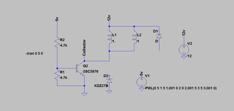 Relay Coil Suppression with single Zener Diode across BJT