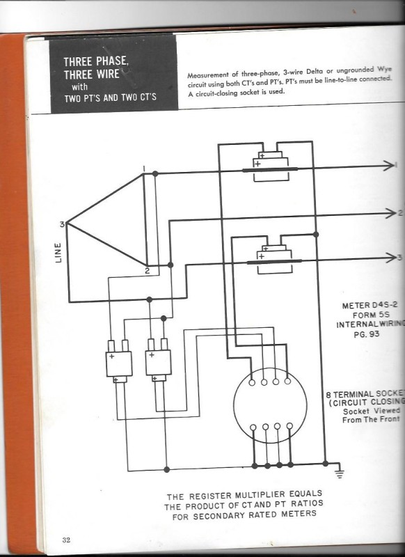 Here Is A Connection Diagram For Two Element Metering Voltage Measured Across L1l2 And L2l3 The Scheme Meters On Assumption That: Form 8s Meter Wiring Diagram At Outingpk.com