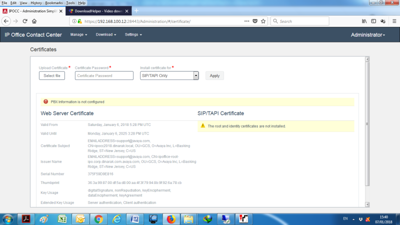 SIP/TAPI Certificate not installed - Avaya: IPOCC (Contact