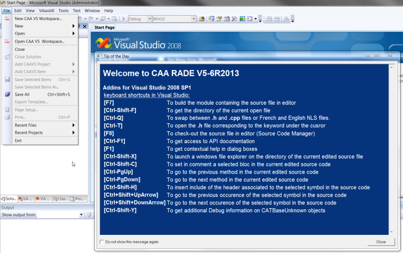 How to program a project with CAA RADE V5-6 R2013 and Visual