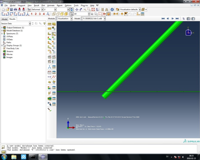 A 3D beam contacts with a 3D shell - DASSAULT: ABAQUS FEA