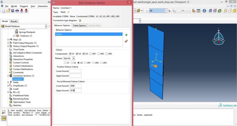 spot weld simulation with failure - DASSAULT: ABAQUS FEA