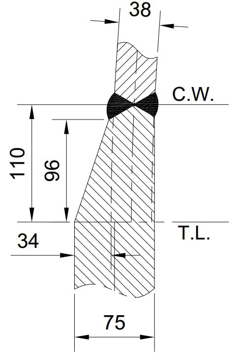 Taper detail for hemispherical head to shell welding