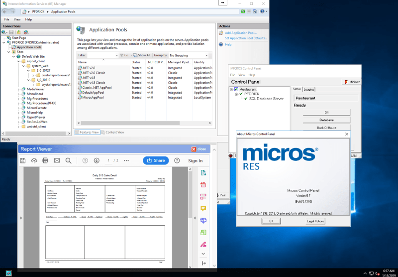 Micros 3700 5 7 IIS and Report Viewer fail - Point of sale