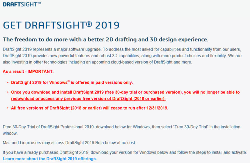 Draftsight 2019 - no longer Free - DASSAULT: DraftSight - Eng-Tips