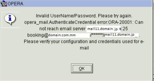 opera_mail AuthenticateCredential error ORA-20001 in Oracle