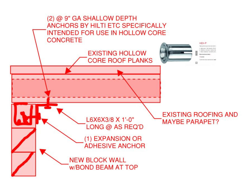 Connection For Cmu Wall To Existing Hollow Core Plank Structural Engineering General Discussion Eng Tips