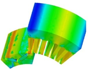 Simulation of the electromagnetic performance of the motor. Only ANSYS mechanical results are depicted (ANSYS Fluent not shown but included in the simulation).